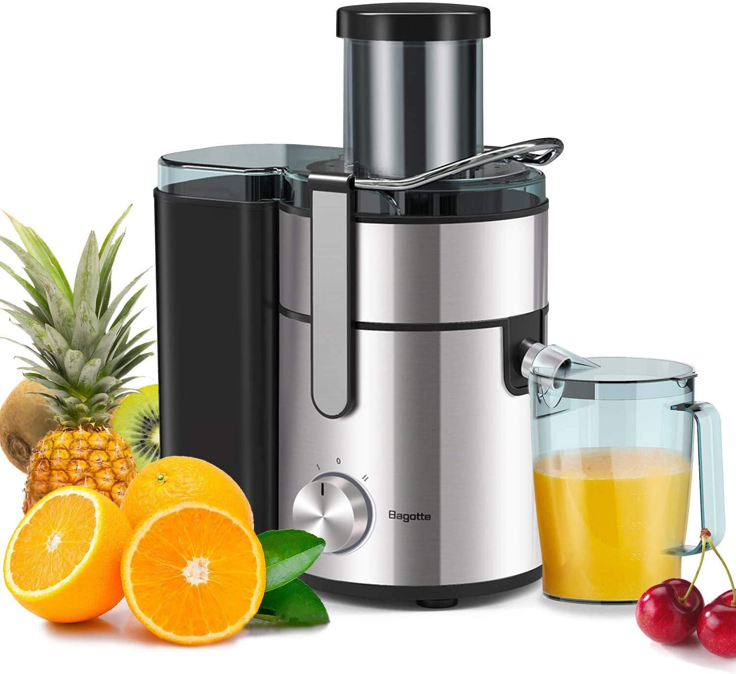 Bagotte Large Juicer Machines, 1000W, 85mm Wide Mouth Centrifugal Juicers Easy Clean Juice Extractor for Whole Fruit Vegetable, Juicer Recipe Book &