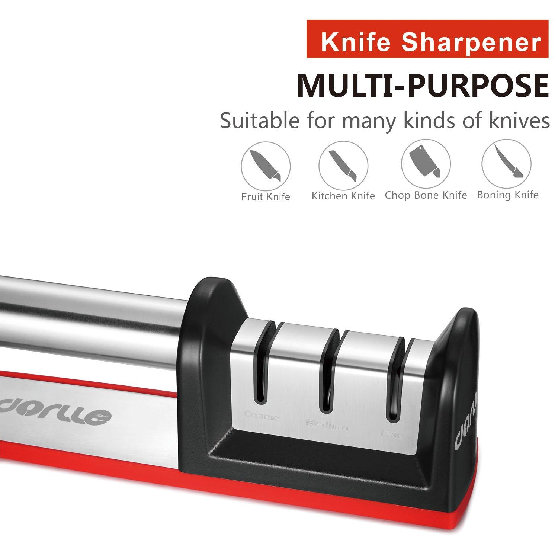 Dorlle Messerschaerfer,3-stufig Messersch/ärfer Hilft Reparatur Rot Diamant Beschichtet Sch/ärfen Rad System