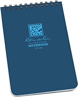 """product image for Rite In The Rain Weatherproof Top Spiral Notebook, 4"""" x 6"""", Blue Cover, Universal Pattern, 3 Pack (No. 246-3), 6 x 4 x 3.75"""