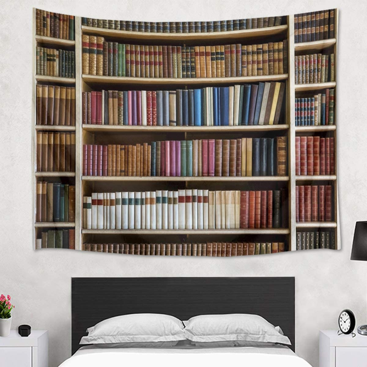 HVEST Library Tapestry Books on Wooden Shelf Wall Hanging Modern Bookshelf Tapestries for Bedroom Living Room Dorm Wall Decor,80Wx60H inches