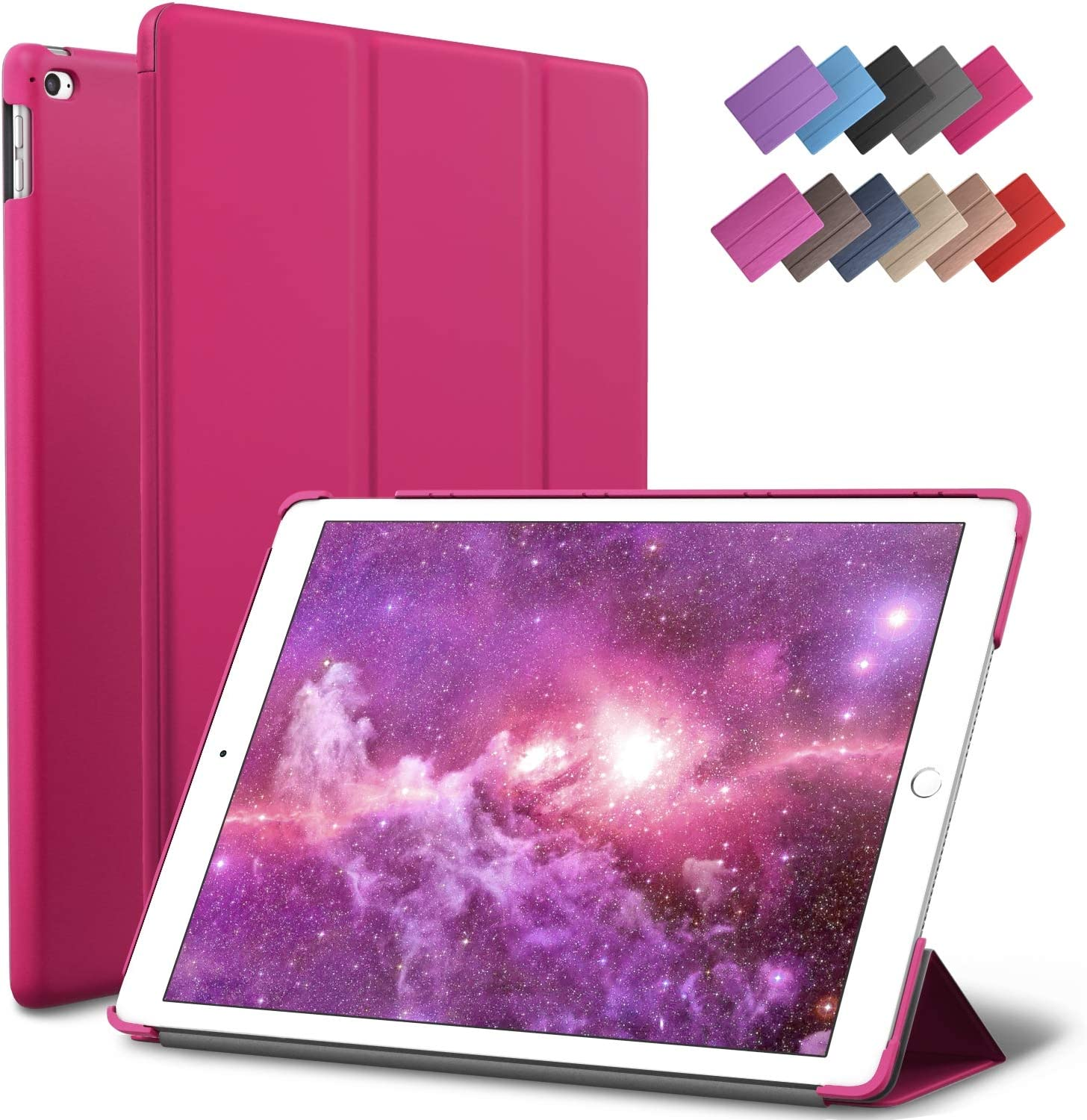 ROARTZ iPad Mini 4 case, Magenta Slim Fit Smart Rubber Coated Folio Case Hard Cover Light-Weight Auto Wake/Sleep for Apple iPad Mini 4th Generation Model A1538/A1550 Retina Display