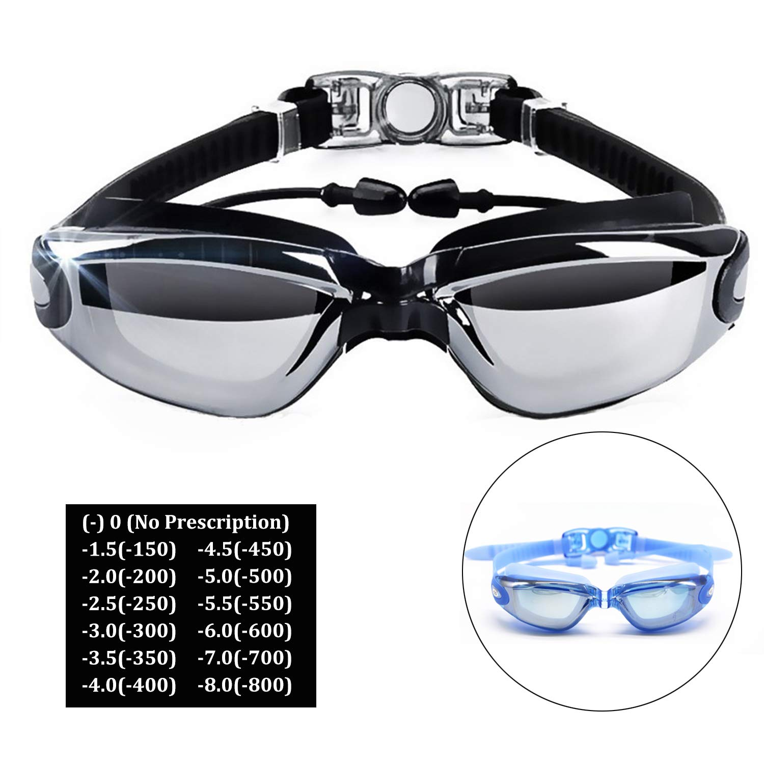 302662c7889 Hersvin Nearsighted Swimming Goggles (0 to -800)