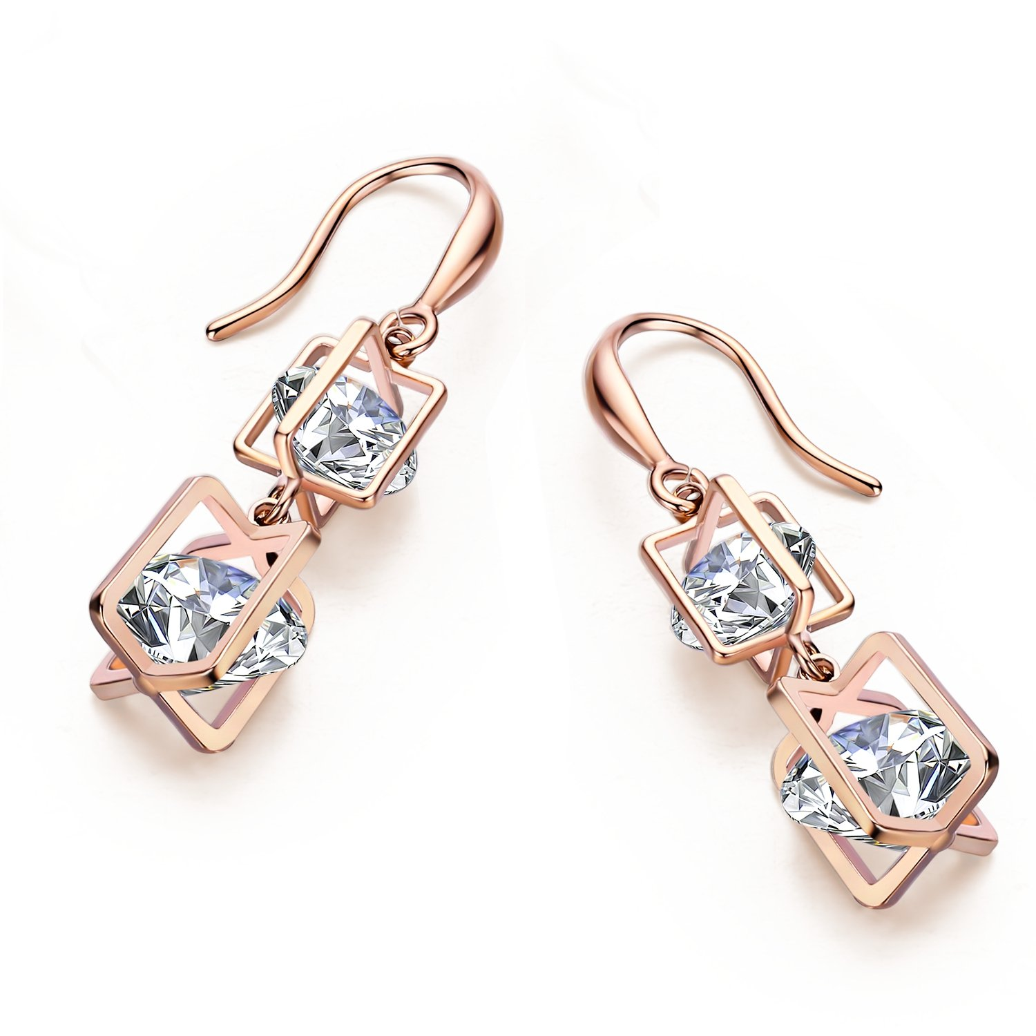 a5cf43d4ba950 SBLING Platinum Plated or 18K Rose Gold Plated Cubic Zirconia Drop  Earrings(9.5cttw)