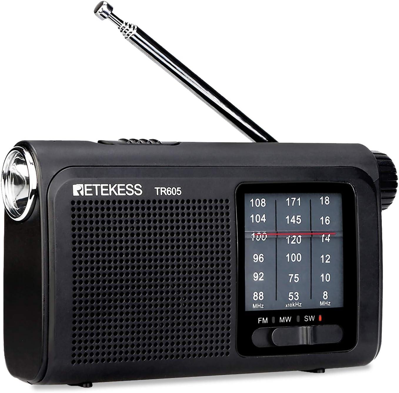 Retekess TR605 Radios portátiles con la mejor recepción AM FM SW funciona con batería con linterna LED de emergencia, batería recargable para ...