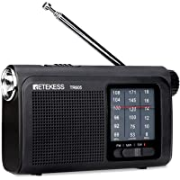 Retekess TR605 Portable AM FM Shortwave Radio, Analog Transistor Radio for Elderly, Rechargeable Radio with Clear Dial…