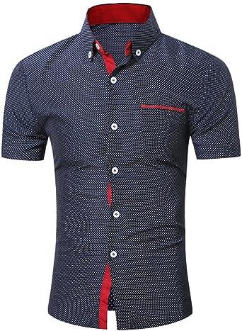 Yvelands Camisa de Solapa de Mezcla de algodón Hombres Camisa de Costura de Color de Manga Corta, Fina, con Costuras en Blanco y Negro ¡Blusa Superior, liquidación económica!: Amazon.es: Ropa y accesorios