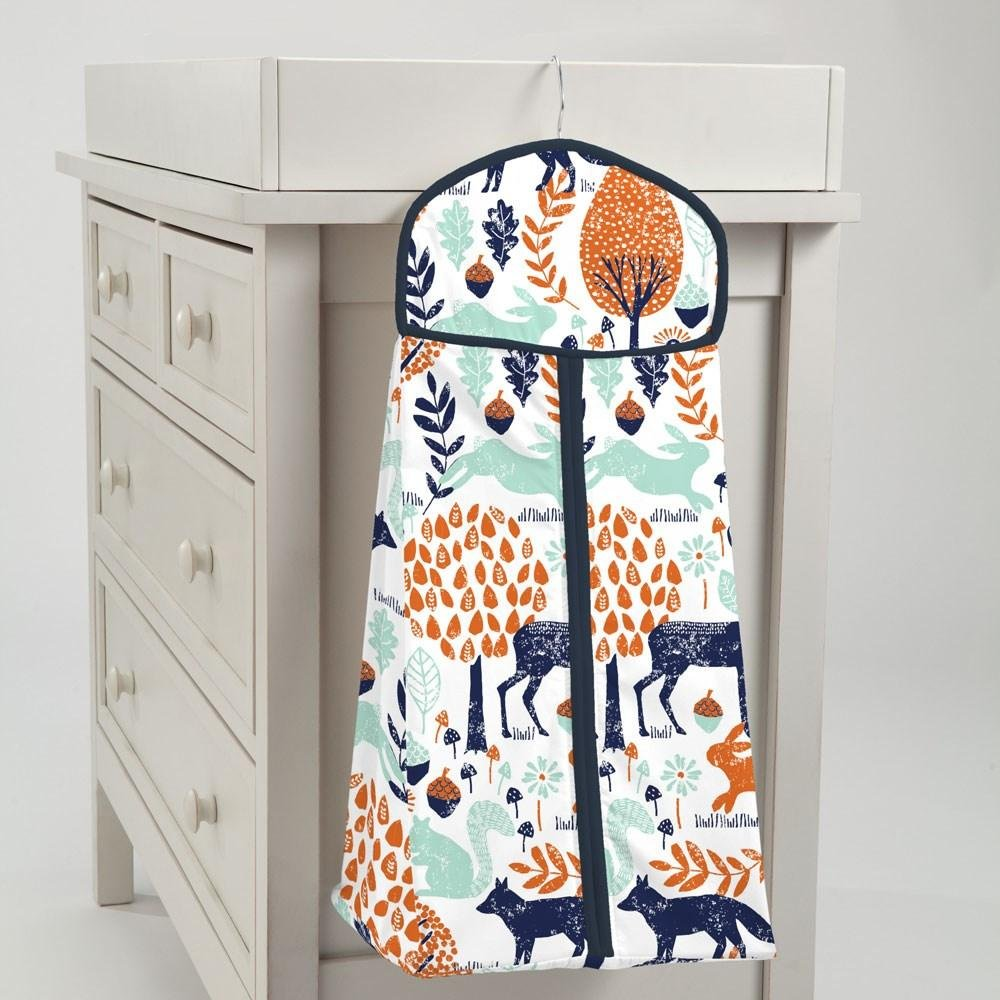 Carousel Designs Navy and Orange Woodland Diaper Stacker