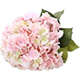 Houda 5 Big Heads Artificial Silk Hydrangea Bouquet Fake Flowers Arrangement Home Wedding decor (Pink)