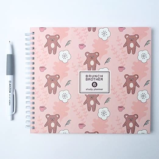 Brunch Brother Study Planner with Pencil, Scheduler (pink bear)