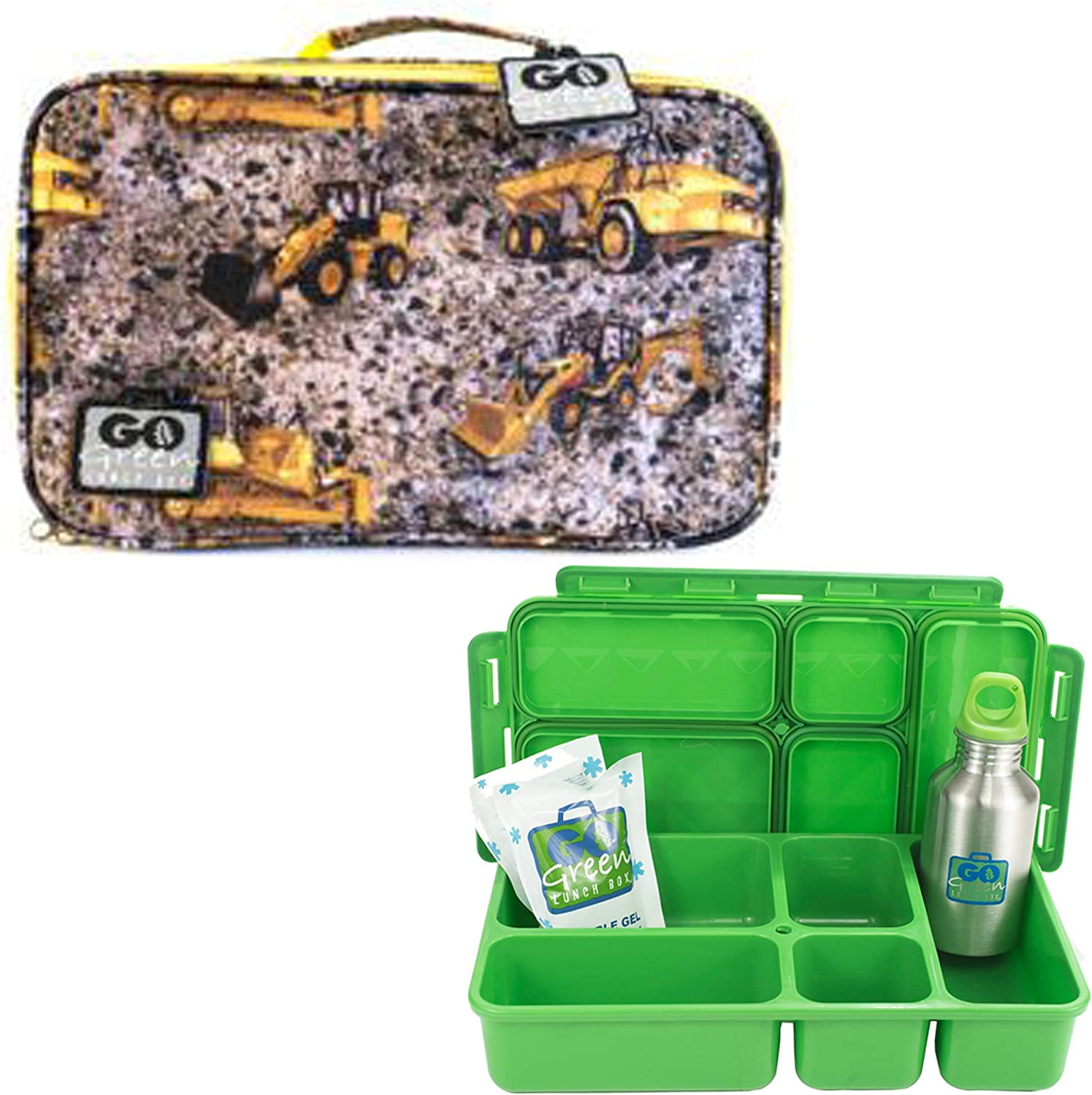 Go Green Lunch Box Set • 5 Compartment Leak-Proof Lunch Box • Insulated Carrying Bag • Beverage Bottle • Gel Freezer Pack (Boys - Under Construction)