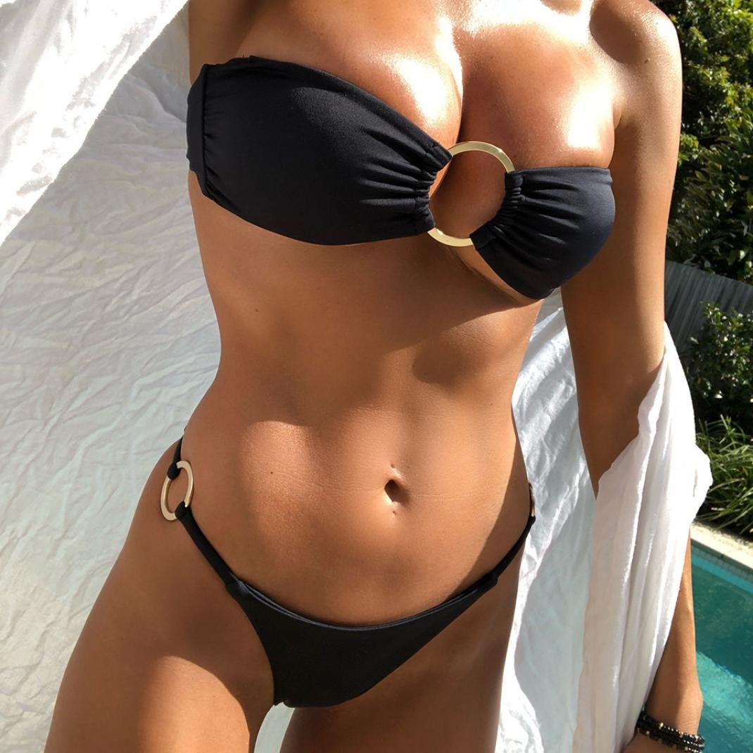 950594eff1 VIASA_Bikini Women's Bikini Set Swimwear Push Up Padded Off Shoulder Ring  Swimsuit Beachwear X-Large Black: Amazon.in: Clothing & Accessories