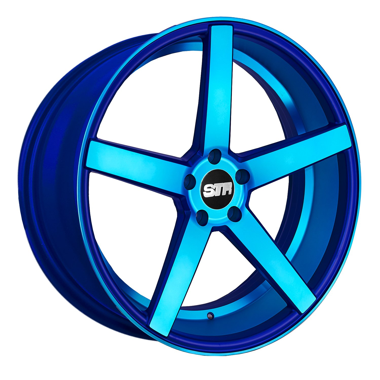 STR RACING STR607 Neon Blue Wheel with Painted Finish (19 x 10. inches /5 x 4 inches, 35 mm Offset)