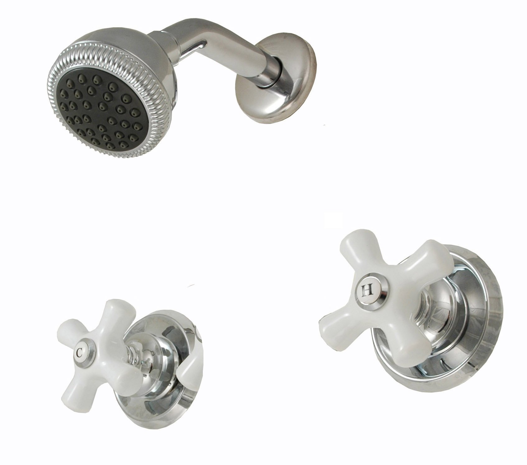 Two-handle Shower Faucet, Chrome Finish, Porcelain Handle, Compression Stems - By Plumb USA
