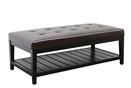 Gentil Abbyson Laurel Dark Brown Bicast Tufted Leather Coffee Table Ottoman