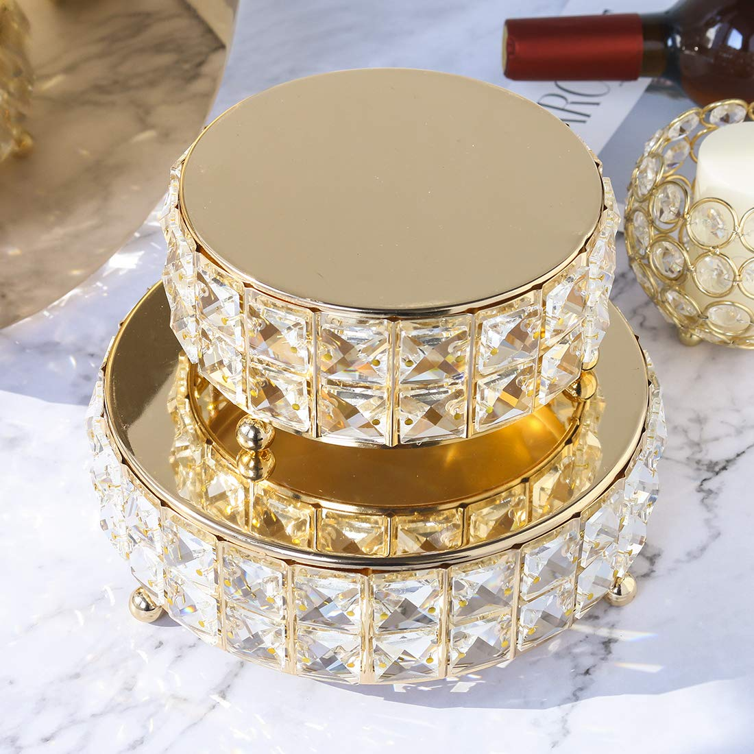 H /& D 3/pi/èces en m/étal dor/é perles de cristal avec ensemble de support /à g/âteau carr/é D/écoration de No/ël