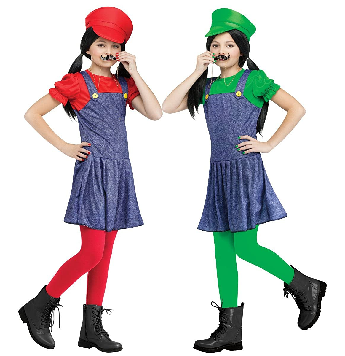 Halloween Video Game Costumes.Fun World Kids Video Game Plumber Brothers Red Girls Halloween Costume