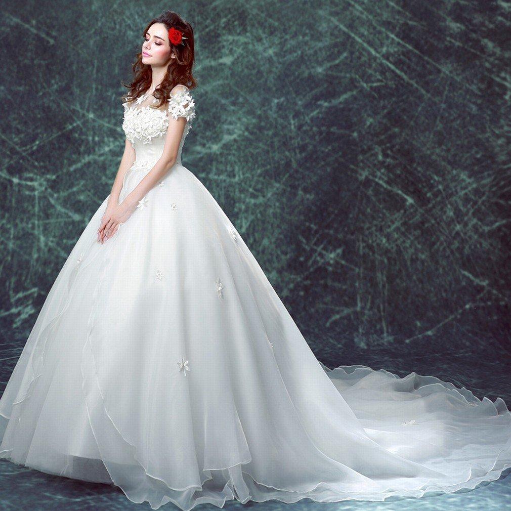 XC Novia Vestido de Novia de la Palabra Hombro de Cola Larga Vestido de Novia de la Boda Princesa Vestido de Novia de Gran Tama?o,UN,SG: Amazon.es: Hogar
