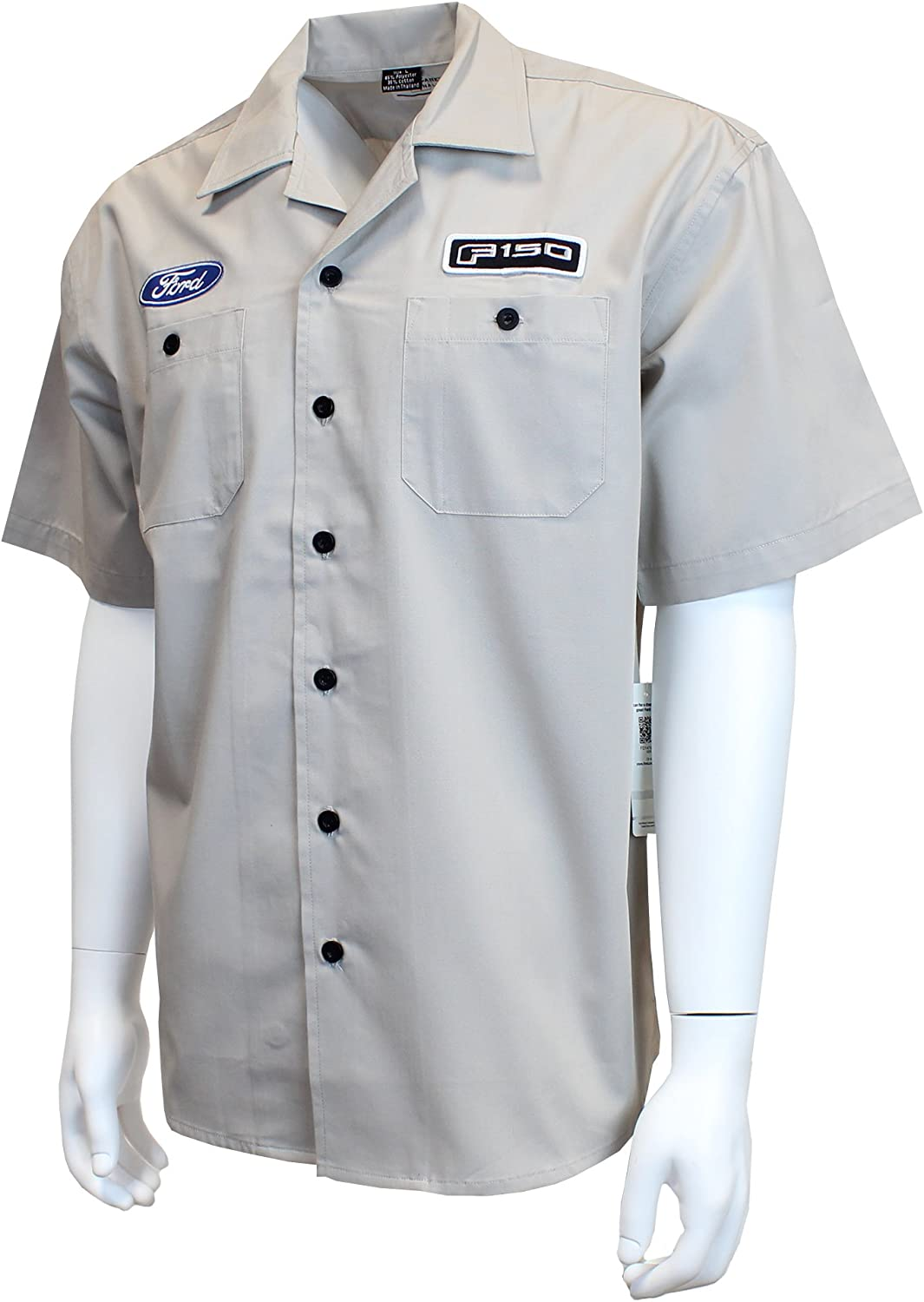 Button Up Collared Short Sleeve Mechanic Camp//Club Shirt Grey /& Black David Carey Ford Performance Pit Crew Shirt