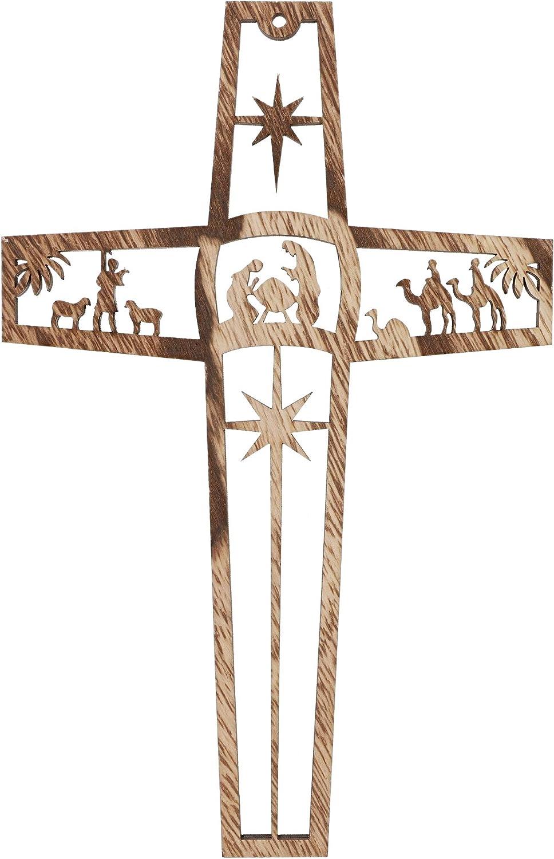 Bright Creations Wood Cross Nativity Scene Wall Decor (6 Pack)