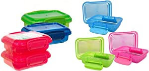 Greenbrier Plastic Storage Containers, Small, Mini, Snap-lock Lids, 6-pc Set, Colors May Vary