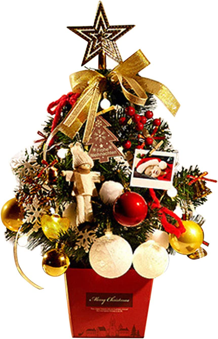 Tabletop Christmas Tree, 20'' Xmas Tree Artificial Mini Tabletop Christmas Tree with Lights and Multicolored Ornaments for Christmas Decorations, Home Decor, Dining Room, Living Room (20'' Gold)