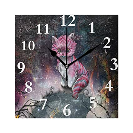 Amazon.com: SHNUFHBD Silent Wall Clock Cute Sweet Fox Galaxy ...