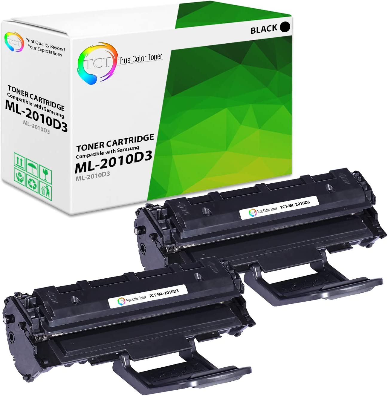 SCX-4521F SCX-4521FG Printers - 2 Pack TCT Premium Compatible Toner Cartridge Replacement for Samsung ML-2010D3 Black Works with Samsung ML-2010 ML-2510 ML-2570 ML-2571N 3,000 Pages