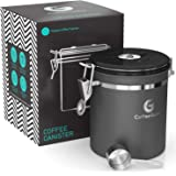 Coffee Gator Stainless Steel Container - Fresher Beans and Grounds for Longer - Canister with Date Tracker, CO2-Release Valve and Measuring Scoop - Medium - Gray