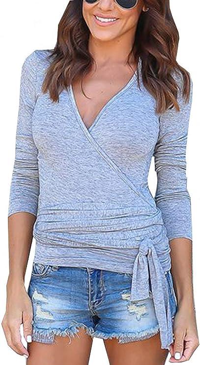 Camisas De Verano para Mujer Blusa Apretada Color Tops Básico De Vintage Sólido De Manga Larga para Corte Basic V Tops: Amazon.es: Ropa y accesorios