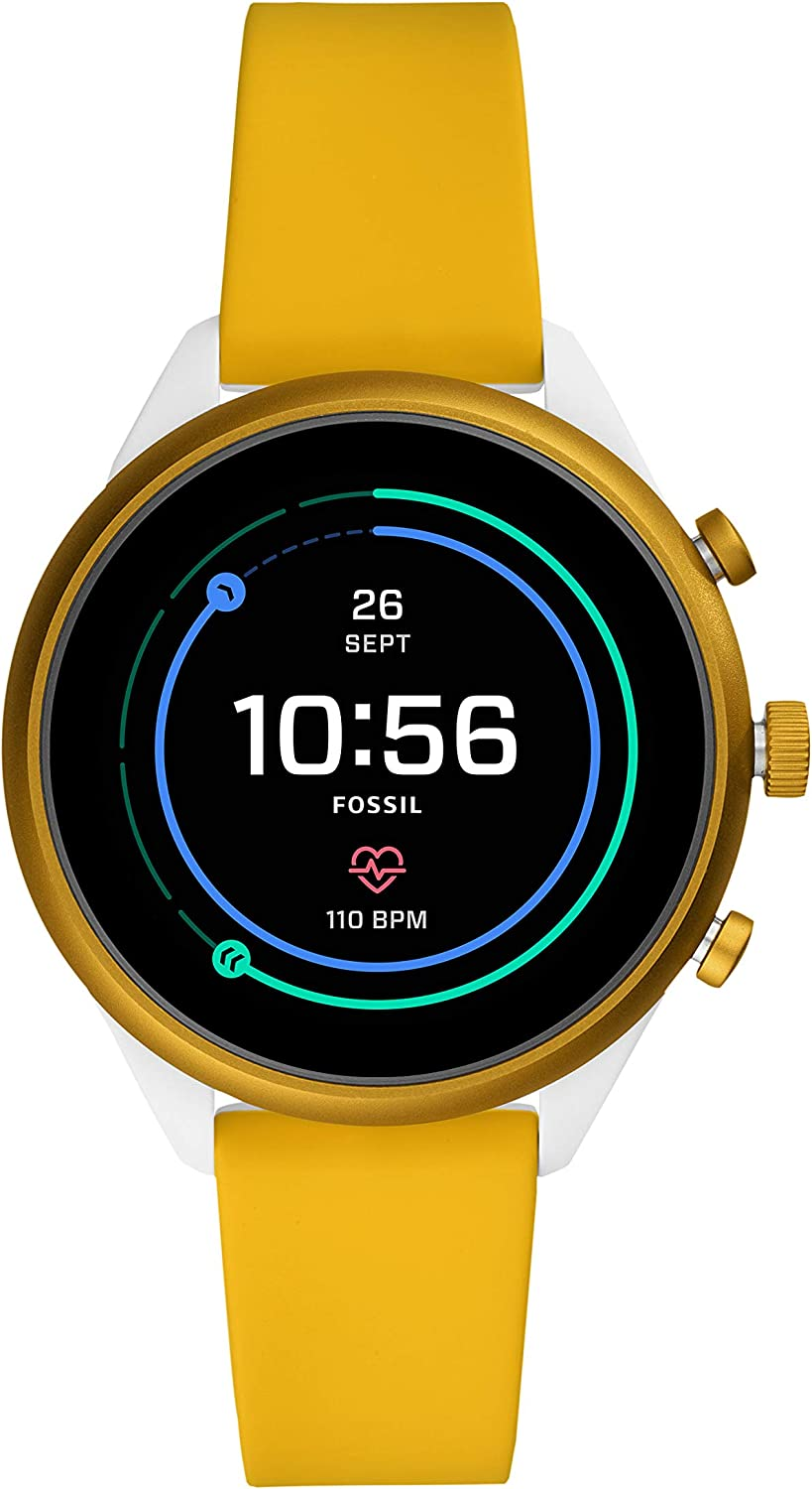 Fossil Womens Sport Metal and Silicone Touchscreen Smartwatch with Heart Rate, GPS, NFC, and Smartphone Notifications