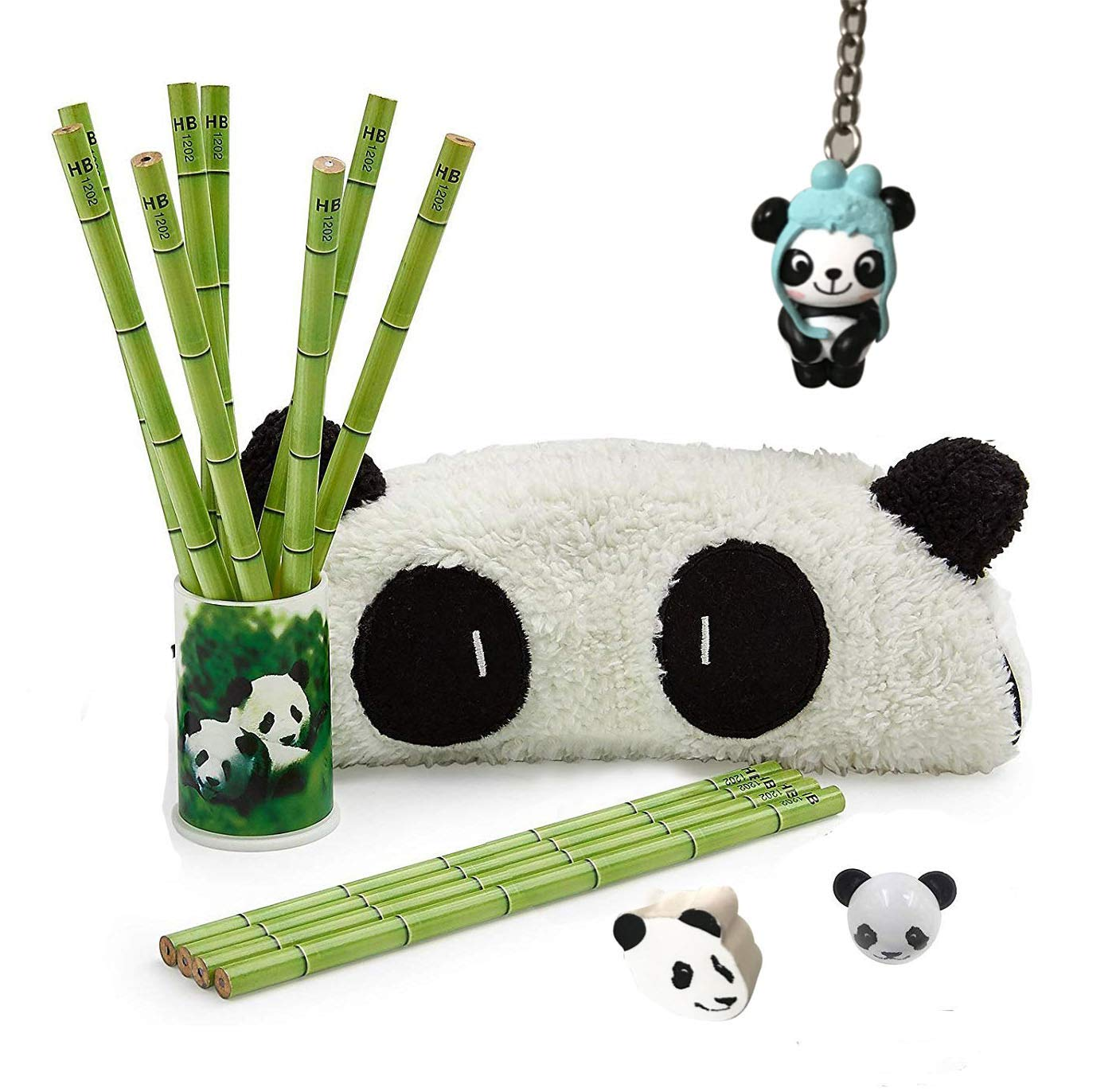 Panda Party Supplies Favors Included 12 Panda Bamboo Pencils 1 Panda Pencil Holder 1 Panda Pencil Case 1 Panda Sharpener 1 Panda Earser 1 Panda Keychain for Kid Teens Birthday Party (Style-2)