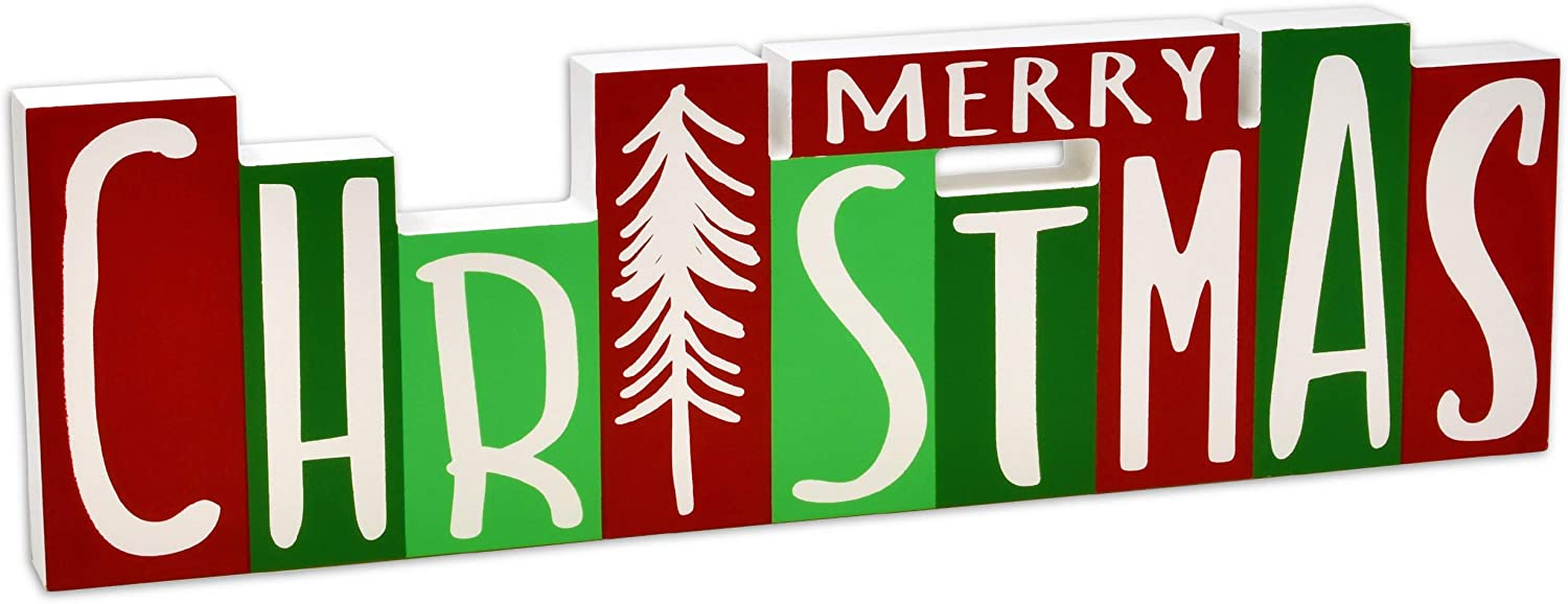 Gift Boutique Christmas Wooden Block Decor , Reversible Merry Christmas Happy Halloween Wood Block Home Decoration for Table Desk Counter Shelf Fireplace Mantle