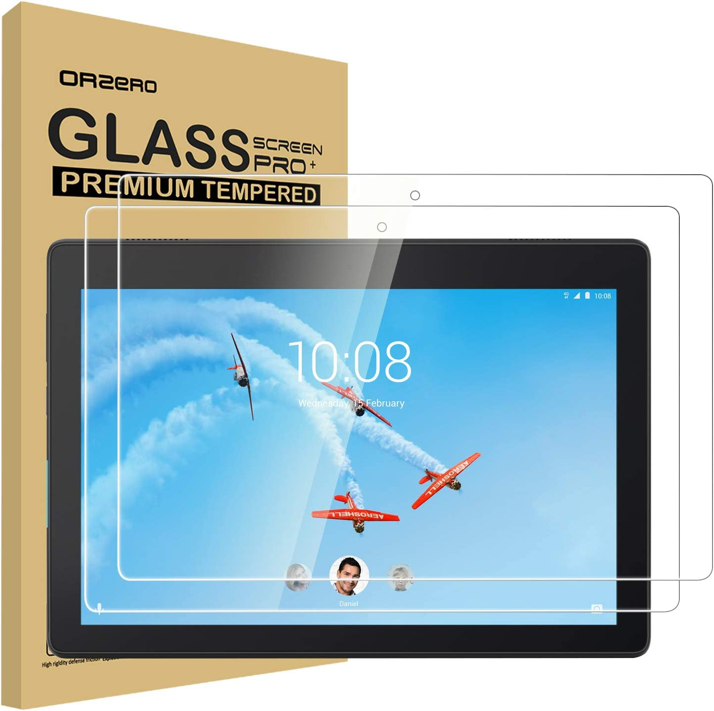 (2 Pack) Orzero Tempered Glass Screen Protector Compatible for Lenovo Tab E10, 9 Hardness HD Anti-Scratch Bubble-Free High-Definition (Lifetime Replacement)