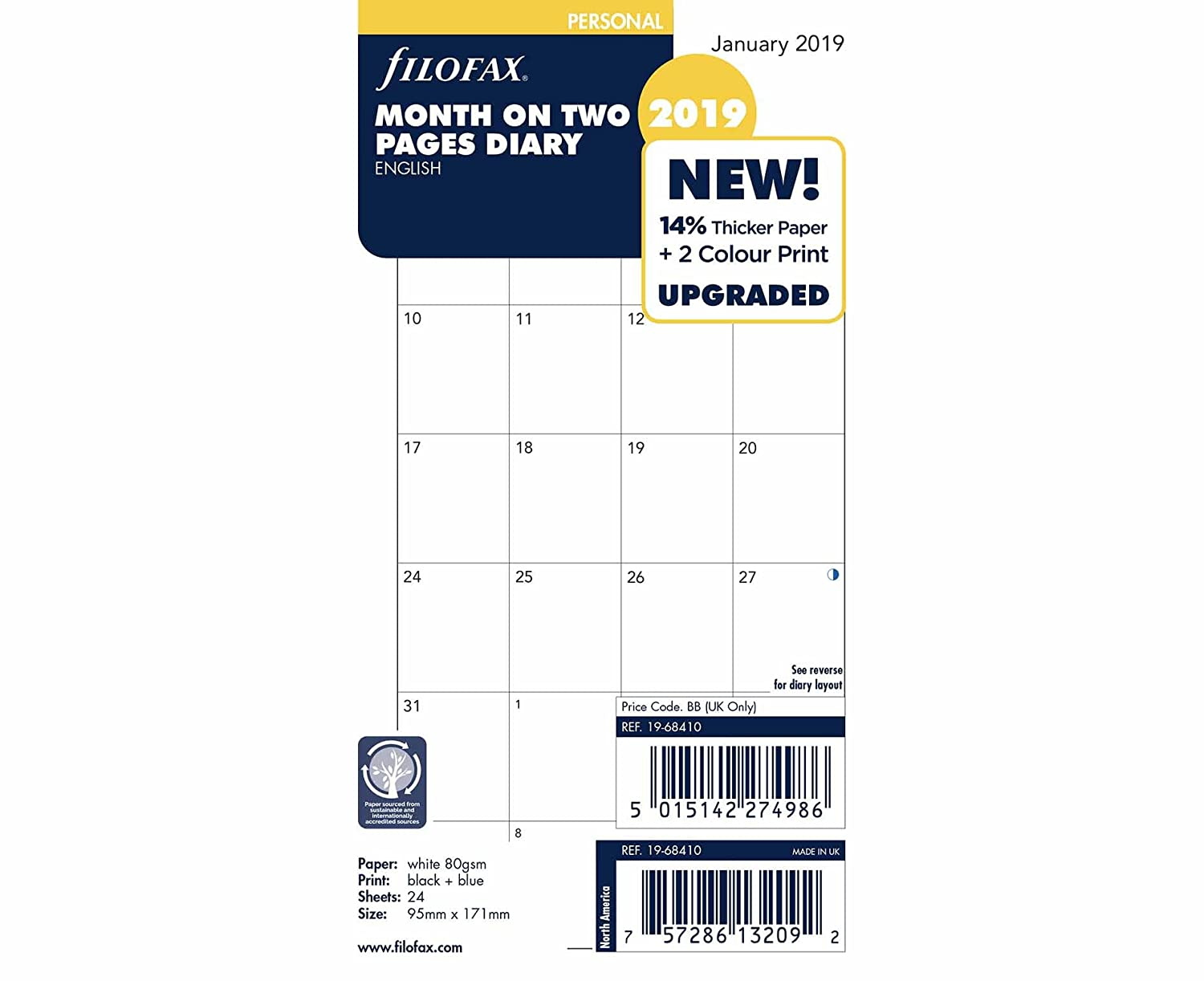 Filofax Diary Insert Month on 2 Pages Untabbed Personal 2019 19-68410