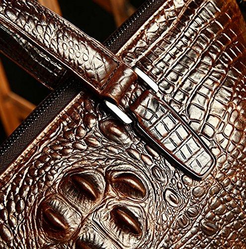 Heshe Vintage Leather Crocodile Men Handbags Messenger Briefcase Business Shoulder Bag Work Tote Fit Laptop (Dark Brown) by HESHE (Image #4)