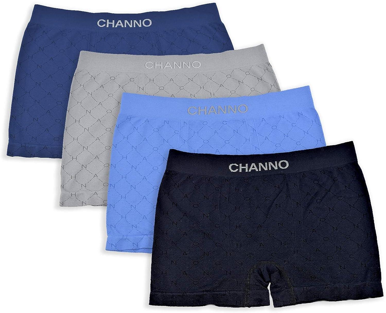 Channo Pack de 12 Boxers en Lycra pour Enfants sans Coutures avec Rayures Horizontales