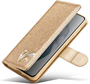 XYX Wallet Case for iPhone Xs, Bling Glitter Shiny Love Diamond PU Leather Flip Case Women Girls for iPhone X, Gold