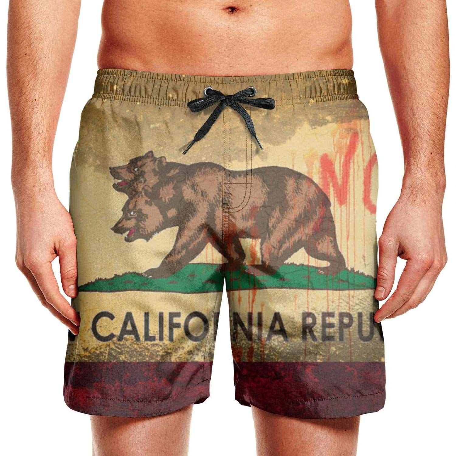 rtyil New California Republic Bear Mans Swimming Trunks Slim Fit Swim Shorts for Men Drawstring Beach Shorts