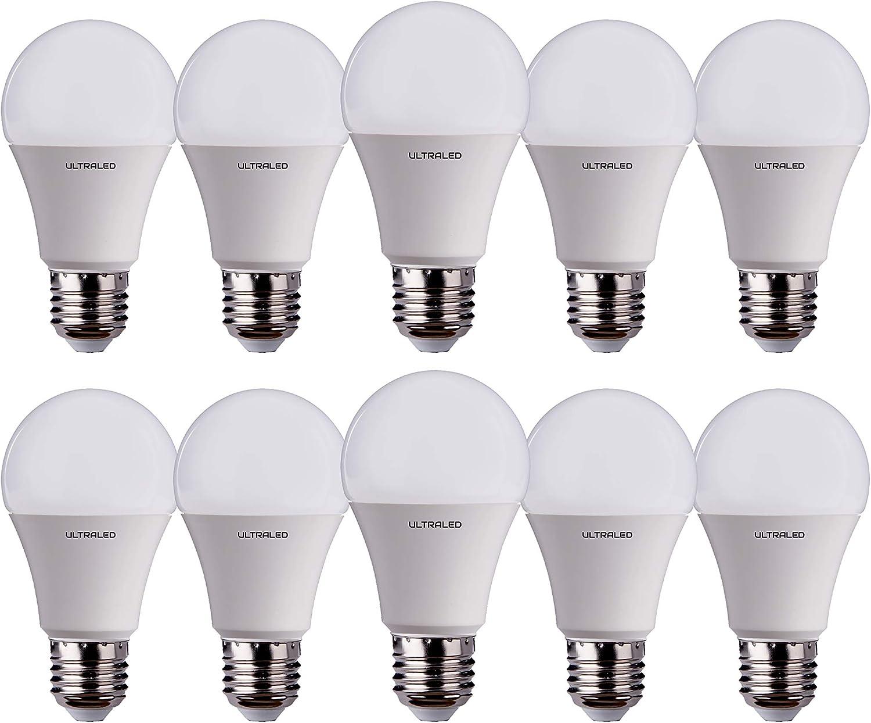 casquillo E27 ULTRALED Juego de 10 bombillas LED gota A60 luz fr/ía 6000 K