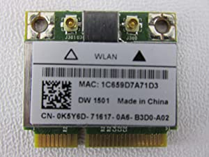 K5Y6D - Dell Wireless 1501 Draft N Wireless WiFi 802.11 a/b/g/n Half-Height Mini-PCI Express Card - K5Y6D