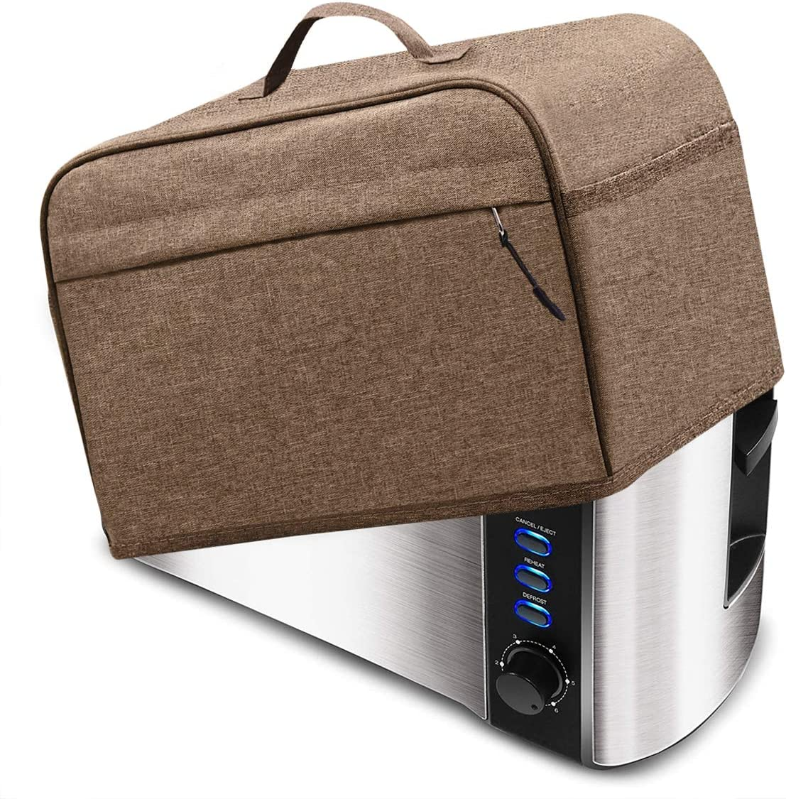 INMUA Toaster Cover for 4 Slice Long Slot (15.5 x 7.5 x 8 inches), Toaster Appliance Cover with Pockets, Dust and Fingerprint Protection (Brown)