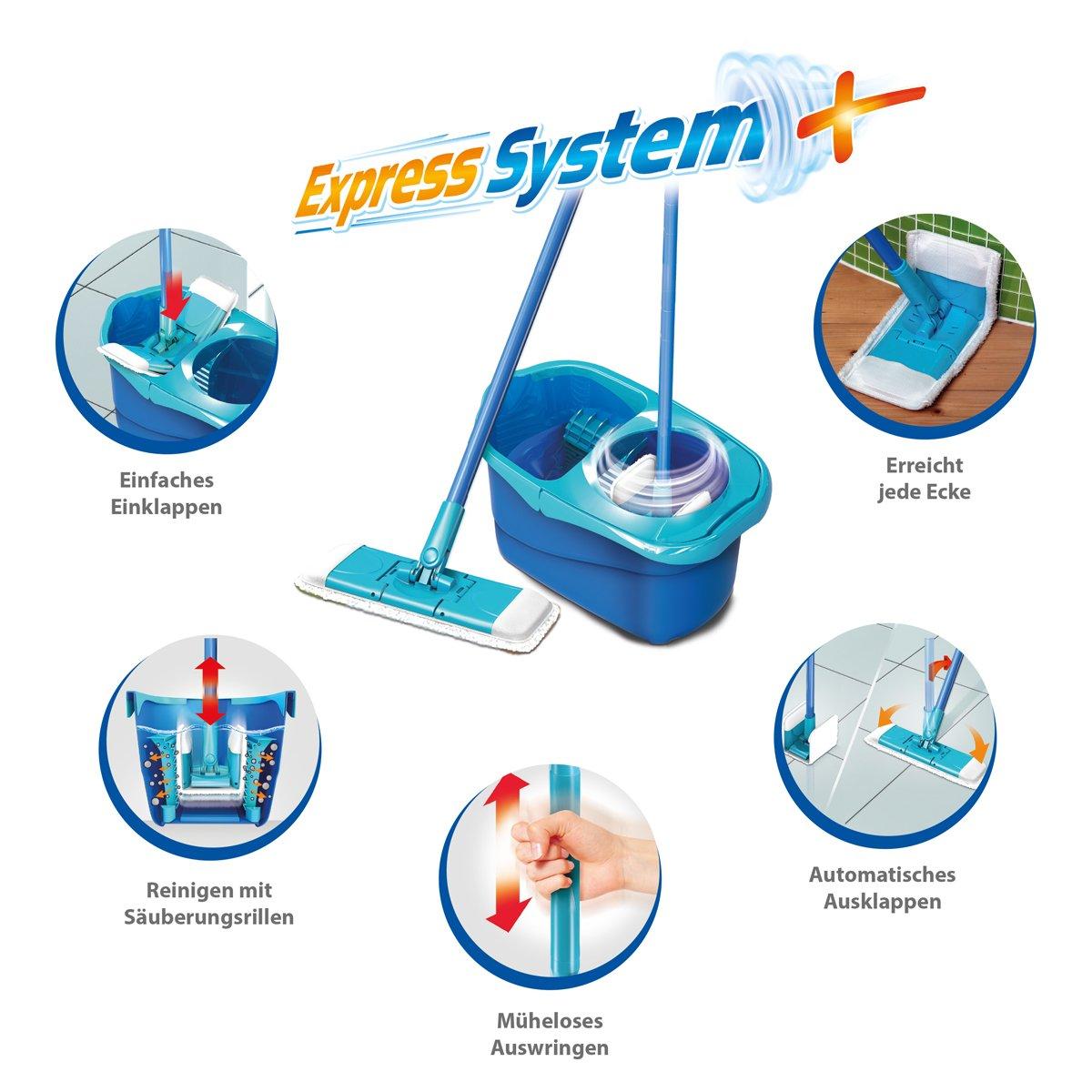 Sistema Spontex Express con incluye 2 fundas de repuesto – Mopa de microfibra conjunto completo Pack de 1