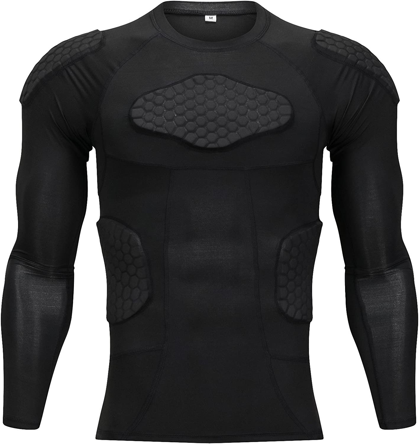 TUOY Classic Padded Compression Shirt - Long Sleeve Padded Protective Shirt (Black): Clothing