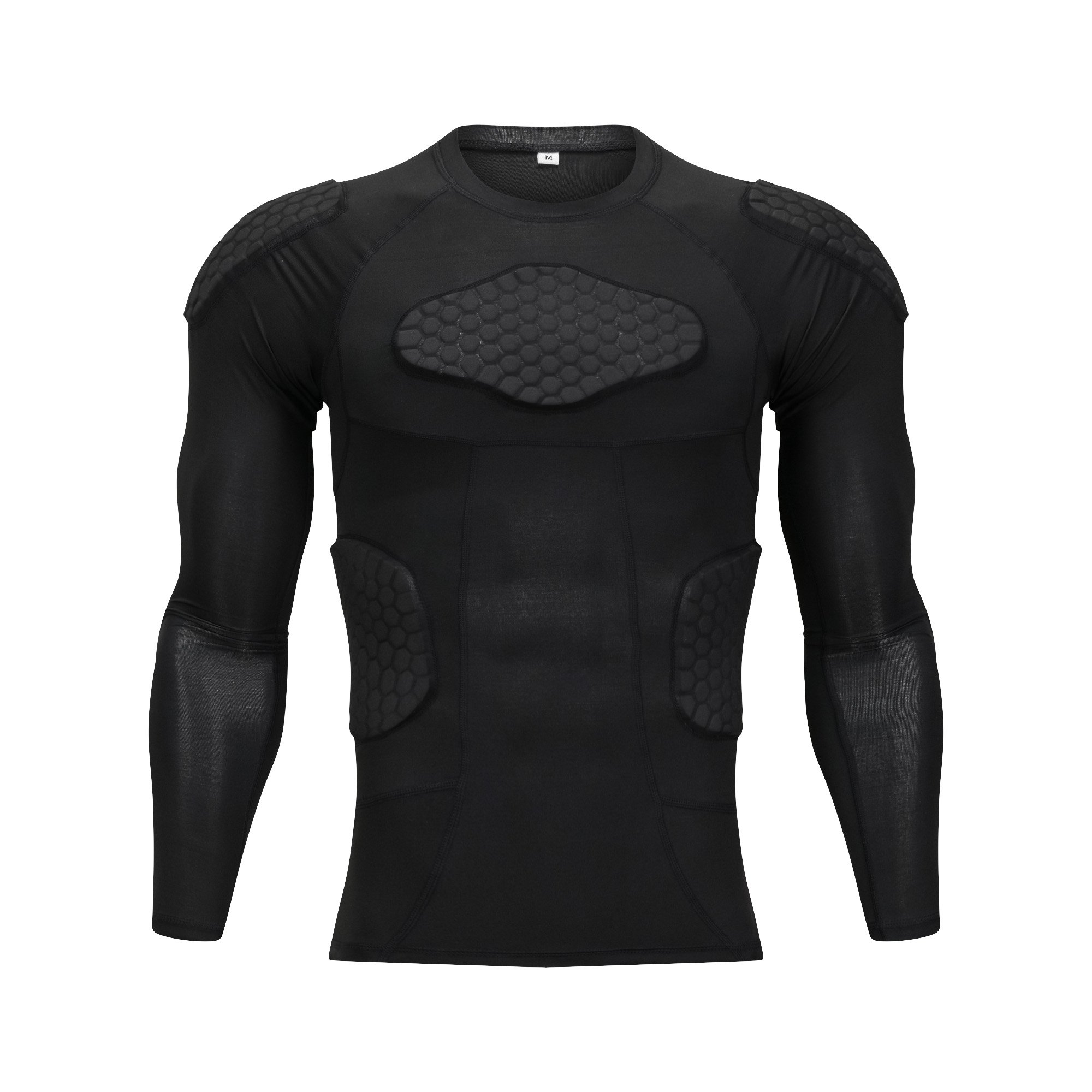 TUOY Men's Padded Compression Shirt Long Sleeve Shirt Chest Rib Protector for Football Paintball (Black Long T-Shirt, Large) by TUOY