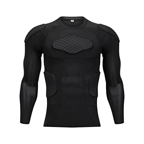 Team Sports Sporting Goods Men Crashproof Padded Shirt Compression Rib Football Jersey T-Shirt Protector