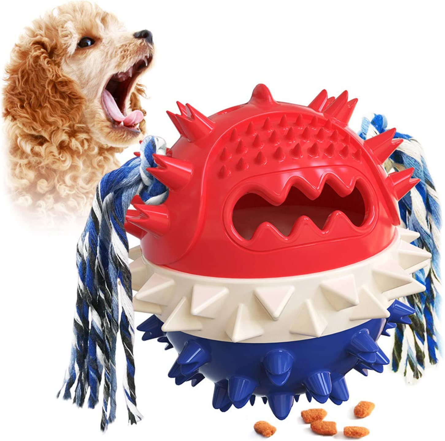 Suction Cup Dog Toy self Play tug of War Dog Toys and Chewing Rubber Ball Dog Rope Toys Chewing Teeth Cleaning Interactive pet and Food Dispensing Ball Toys (red)