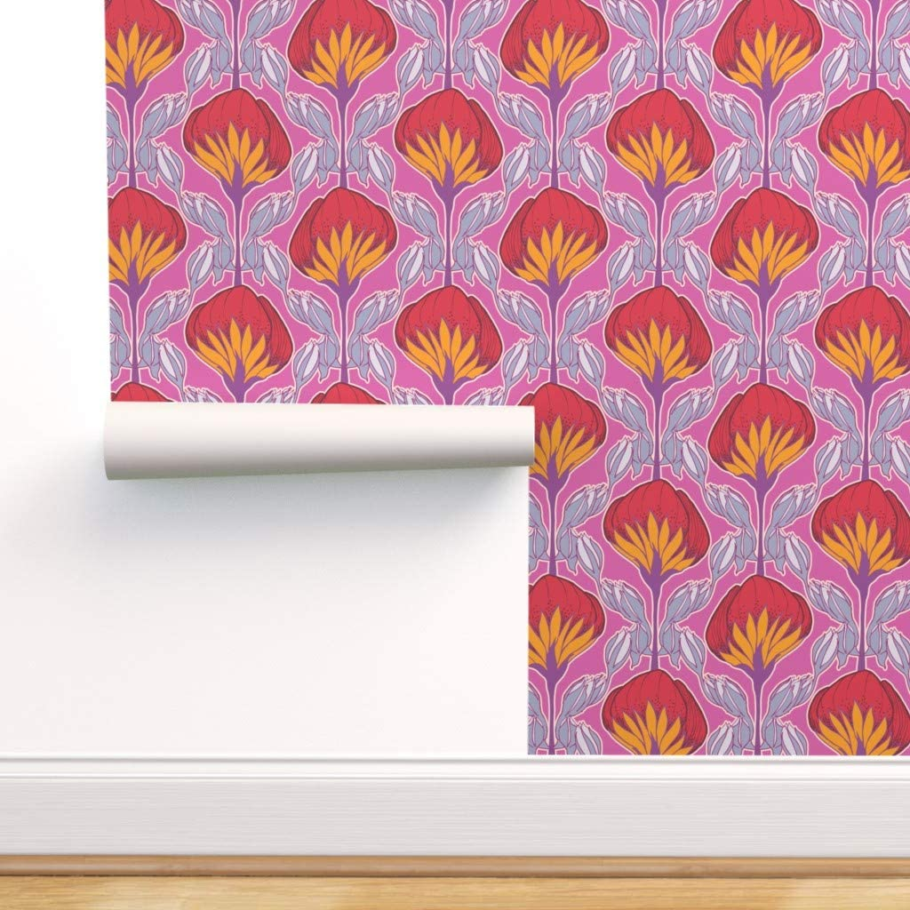Spoonflower Peel And Stick Removable Wallpaper Floral Hot Pink Retro Yellow Print Self Adhesive Wallpaper 24in X 108in Roll Amazon Com