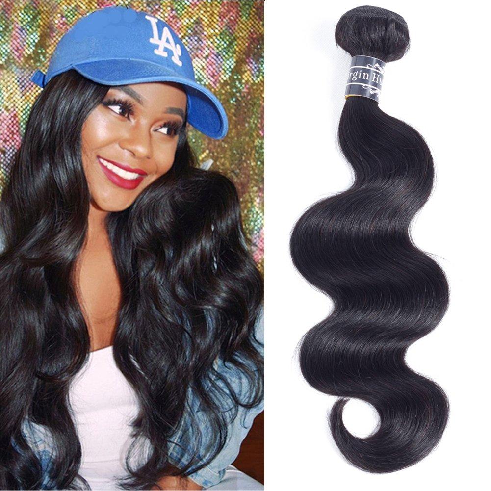 Amella Hair Brazilian Virgin Body Wave Hair 3 Bundles with Three Part Closure (14 16 18+12, Natural Black) 8A 100% Unprocessed Brazilian Body Wave Human Hair Weft with Lace Closure Brazilian Body Wave
