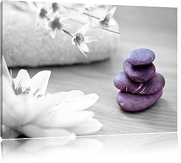 Zen Steine Leinwandbild schwarz weiß