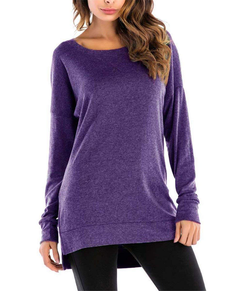 Kool Classic Women's Casual Long Sleeve Crewneck Side Split Loose Pullover Tunic Tops Purple X-Large